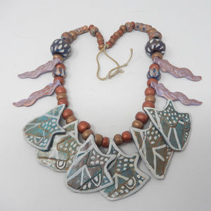 Artisan Ceramic Abstract Leaves Statment Necklace